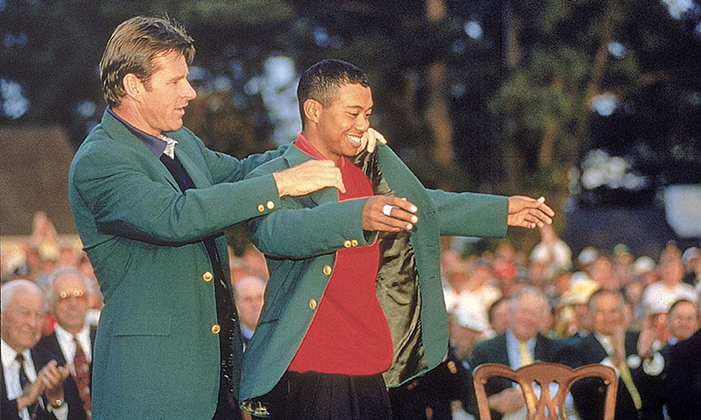 Woods received his first green jacket from Nick Faldo after shooting a record 18-under 270 in 1997 for his first major championship. The nearest competitor that year was Tom Kite, who finished 12 shots behind Woods.