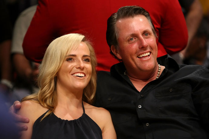 Phil Mickelson and wife Amy attend Game Five of the Western Conference Semifinals during the 2009 NBA Playoffs.