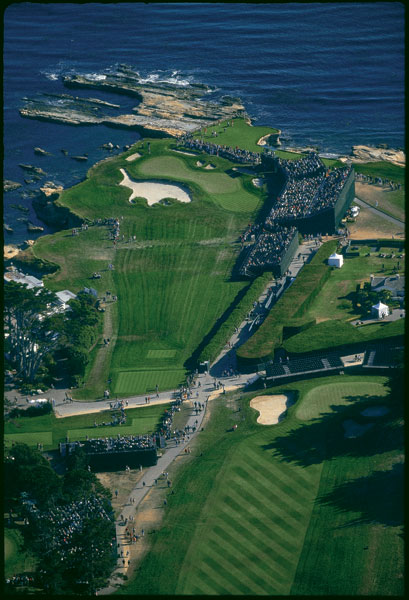 Pebble Beach                       An aerial view of the 17th green at Pebble Beach during 2000 U.S. Open.