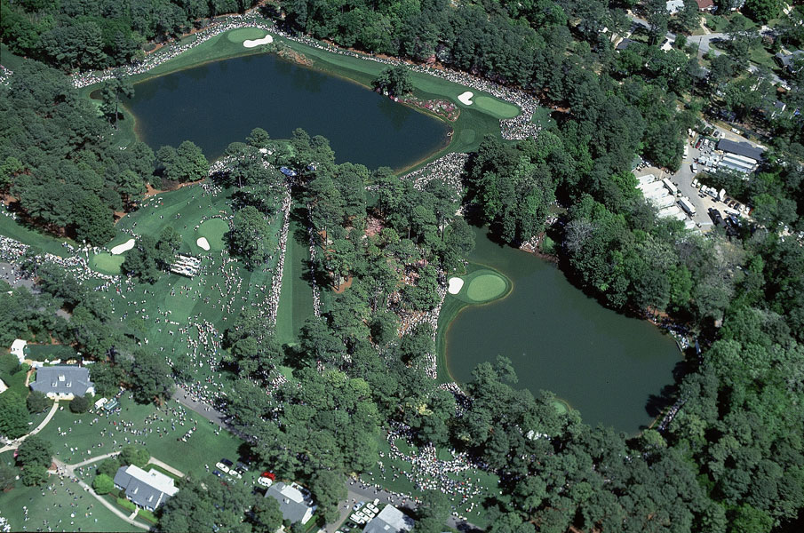 2000: Bob Martin, SI's Europe-based photog, took his turn in the air during the first Masters of the millennium, and he came up with a bird's eye view of Clifford Roberts's charming short course during the Wednesday Par-3 Contest.