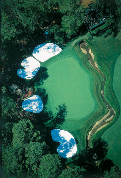2000: A direct overhead shot of the beautiful but dangerous 13th green.