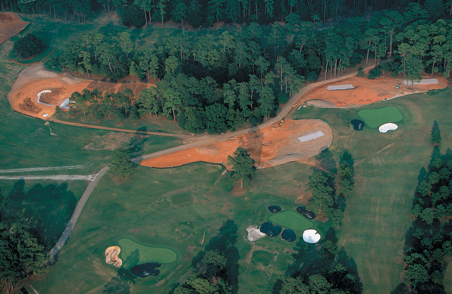 2001: The second shot shows the then newly stretched -- by 60 yards -- 18th and the back tee at the 8th. In all, Augusta National was about 200 yards longer for the 2002 Masters.
