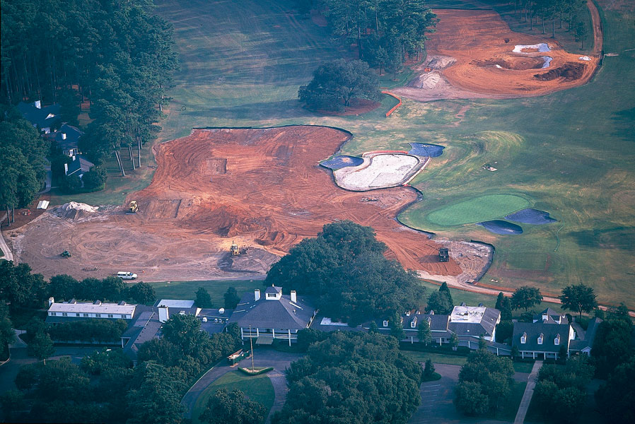 2001: Word filtered out in the summer, when Augusta National is closed, that massive changes were being made, and our friends at the Augusta Chronicle got the scoop. SI photographer Chris Stanford confirmed the story with these snaps. The mess in front of the clubhouse are (from left to right): the putting green, the back tee at the 10th and the back tee at the 1st.