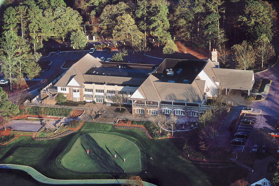 2002: This photograph is of the swell clubhouse at Augusta Country Club, whose members are unfailingly warm and welcoming during Masters week.