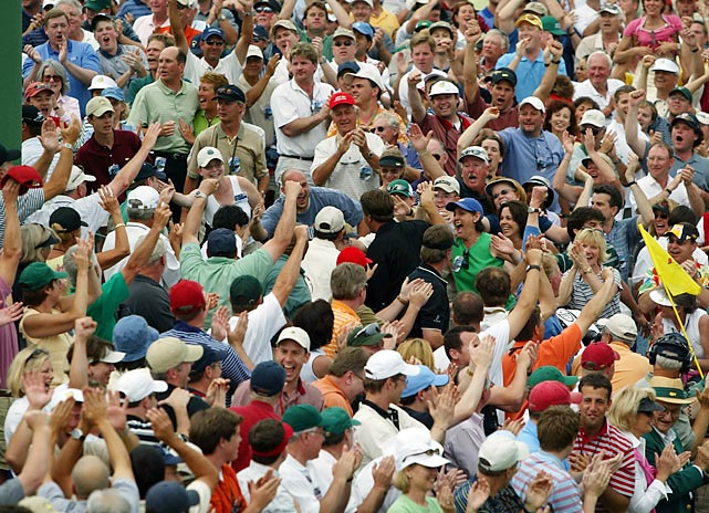 Mickelson made his way through the crowd after holing out for the win.
