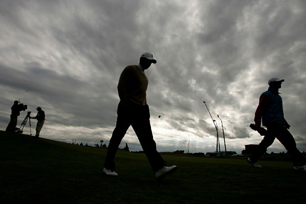 In the second round of the British Open at Carnoustie, Woods snap-hooked his drive on No. 1 and made double bogey. He finished the day with a three-over 74.