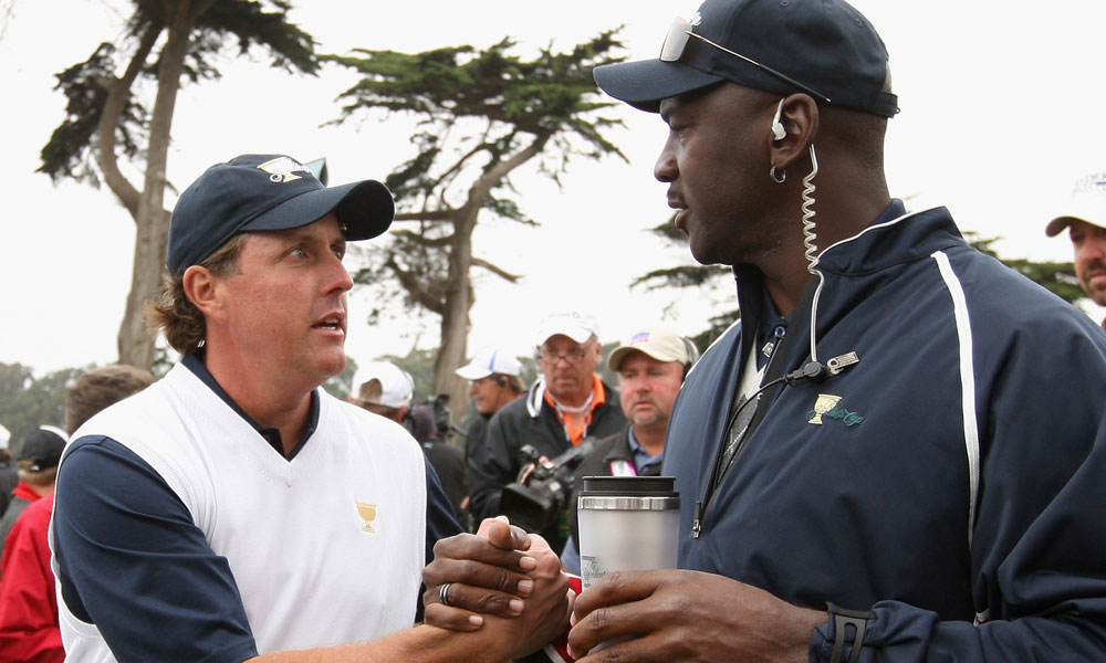 Jordan, an assistant for the U.S. team during the 2009 Presidents Cup, chatted with Phil Mickelson during the morning foursome matches.