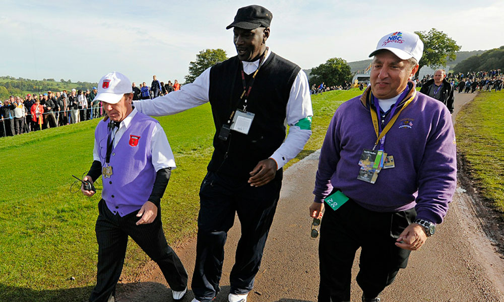 A regular at the team events, Jordan spoke with U.S. assistant captain Jeff Sluman at the 2010 Ryder Cup in Wales.