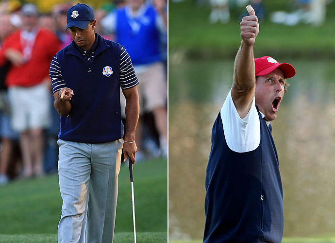 2012                                   Tigewr Woods wins notable tournaments Bay Hill, Memorial and the AT&T National, and finishes T3 at the British Open. Meanwhile, Mickelson wins just once at Pebble Beach. Both players make the Ryder Cup team and build a big lead for Team USA at Medinah.