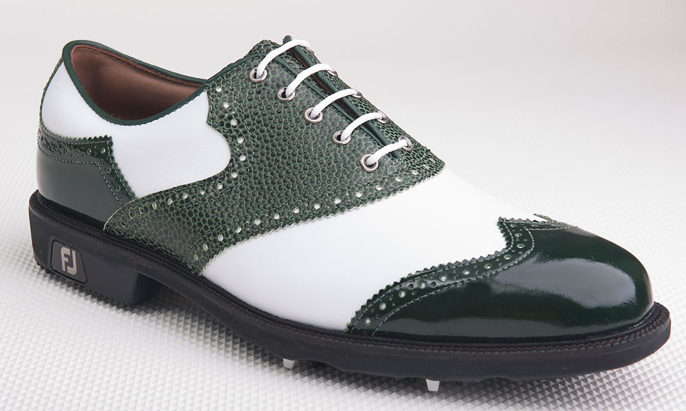 Top-of-the line FootJoy Icon shoes, with printed and patent-leather finishes, can be built and customized at myjoys.com or authorized FootJoy dealers. Other limited quantity FootJoy styles include stingray-printed leathers and women's LoPro Sport. Available at myjoys.com ($305).