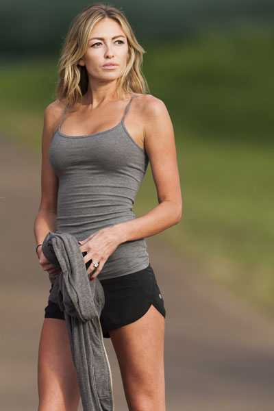 Paulina Gretzky stands near the 18th fairway during the first round of the Tournament of Champions in Kapalua, Hawaii.