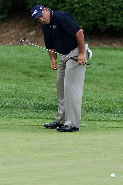 Angel Cabrera watched this birdie attempt slide by on the fourth hole. The 2007 U.S. Open winner is at even par.