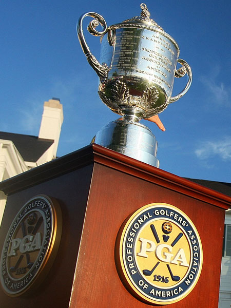 Thursday at Oakland Hills                             A collection of the best images from the first round of the 2008 PGA Championship.                                                          The Wanamaker Trophy was on display on a bright and sunny morning at Oakland Hills.