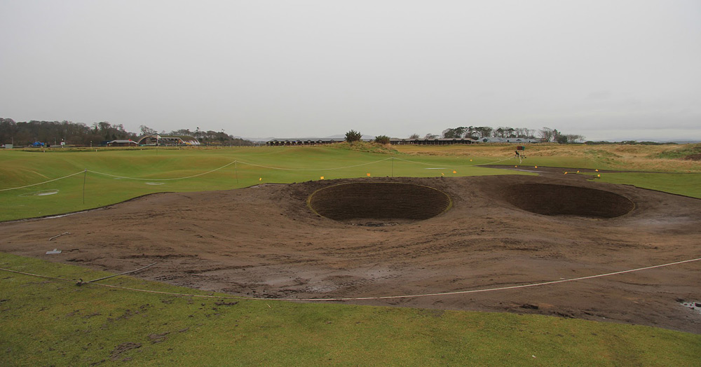 A closer look at the new bunkers at the second hole.