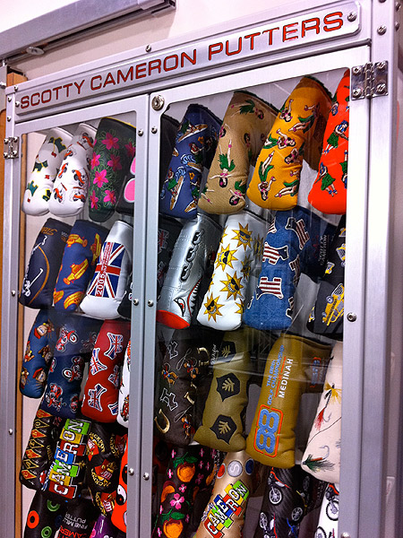 For major championships and other big events, Cameron often creates specialty head covers and presents them to Titleist staff players and VIPs. Many of these putter head covers also are made available to Club Cameron members on scottycameron.com.