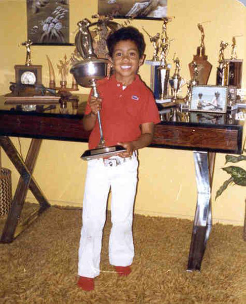 Woods racked up trophies at an early age.