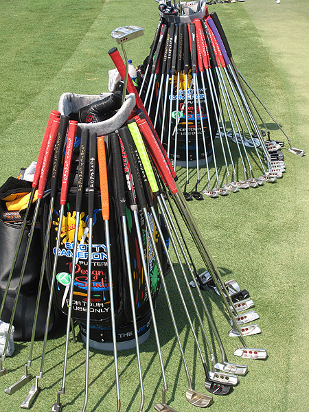 At most PGA Tour events there is a colorful selection of Scotty Cameron putters on the practice green for pros to try.