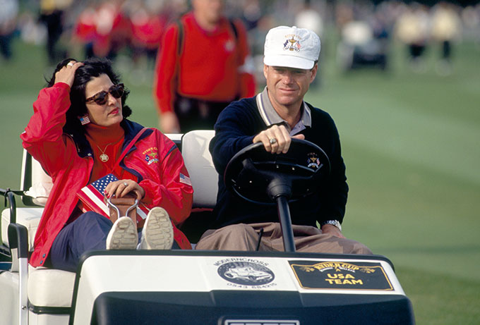 Tom Watson, the non-playing captain of the United States team, driving a golf buggy with his then-wife Linda during the 1993 Ryder Cup held at The Belfry.