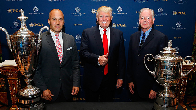 Strong -- and Controversial -- Beliefs Bishop named Peter Bevacqua, far left next to Donald Trump, as CEO of the PGA of America. Bishop's plans as president started to unfold as he took strong stances against the banning of anchored putters and supported the inclusion of women as R&A members.