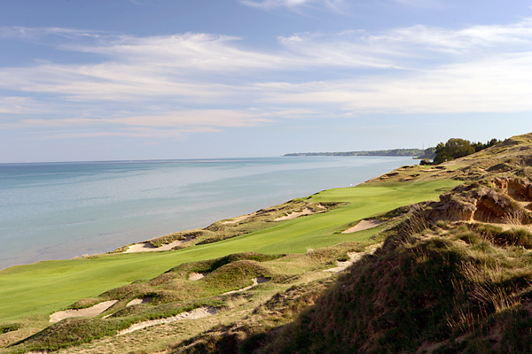 "The Straits Course offers stunning views. The fourth hole, known as ""Glory,"" is one of many that border Lake Michigan."