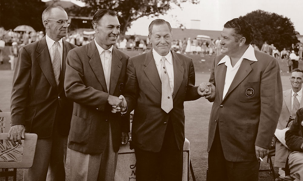 "Bobby Jones with Hogan and Ed ""Porky"" Oliver, the runner up in '53. Far left is Clifford Roberts, the Augusta National chairman."