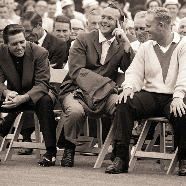 The other members of the original Big Three, Gary Player, left, and Palmer, center, were all smiles during the award ceremony at the 1965 Masters, where Nicklaus won his second green jacket.