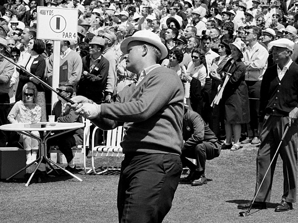 With Ben Hogan looking on during the final round, Nicklaus won his second-straight Masters in 1966—and third in four years.