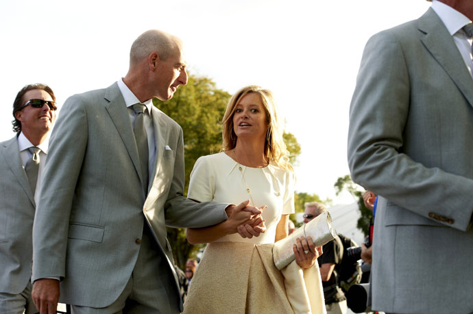 Jim Furyk with wife Tabitha during the 2012 Ryder Cup opening ceremony at Medinah CC.