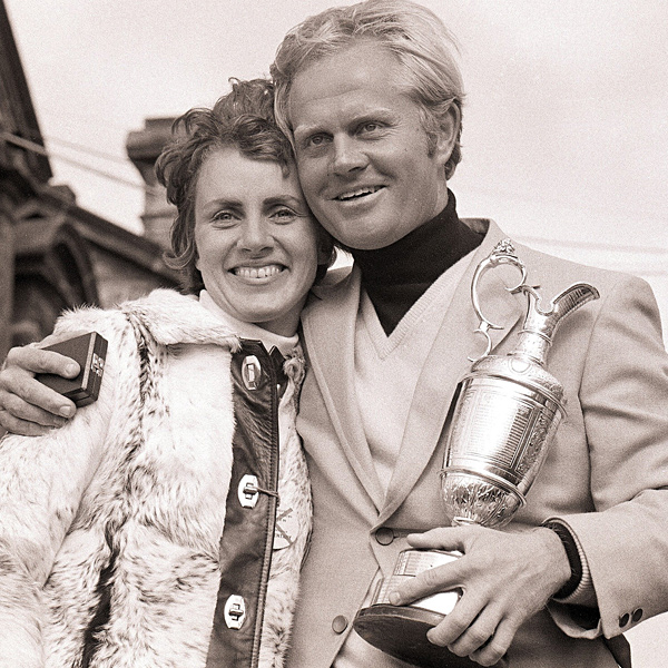 Fashions changed as the 1970s arrived, but the Golden Bear kept on winning. With his wife, Barbara, at his side, Nicklaus held the claret jug after defeating Doug Sanders in a playoff to win the 1970 British Open at St. Andrews.