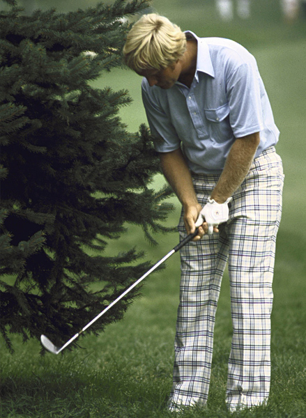 Bad pants and all, Nicklaus was able to get out of this jam at Firestone Country Club in Akron, Ohio, and win the 1975 PGA Championship.