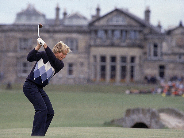Two icons: Nicklaus prepared to blast a drive down the 18th fairway at St. Andrews with the Royal & Ancient's clubhouse in the background. He would go on to win the 1978 British Open, his final victory in golf's oldest championship.