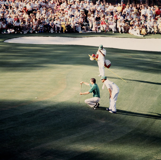 Gary Player had finished his 4th round early, firing a 64 to take the lead. Only Hubert Green could tie him. Green hit a superb 8-iron approach to three and a half feet at 18. He took his stance over the putt, then backed away. Nerves? No, he had heard the voice of CBS Radio's Jim Kelly. Green resettled over the putt. He pushed it slightly -- and missed.