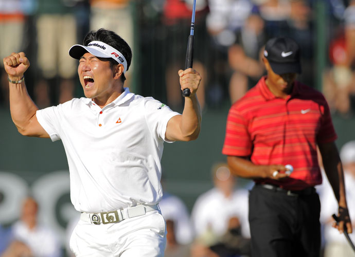 No. 8 | 2009  Tiger Woods never loses majors when he has a final round lead. He was a perfect 14 for 14 prior to the '09 PGA at Minnesota's Hazeltine National. Somebody forgot to tell South Korea's Y.E. Yang, however. Yang erased a 2-shot deficit after eight holes, then chipped in for eagle at the 14th to grab the lead. After striking a superior hybrid onto the 72nd green, Yang had done the unthinkable: Beating Tiger Woods and becoming the first Asian male to win a major.