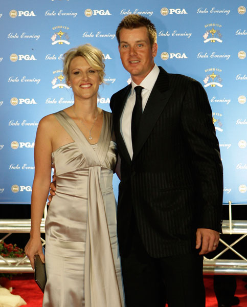 Henrik Stenson and his wife Emma arrive at the 2012 Ryder Cup Gala in Louisville, Ky.