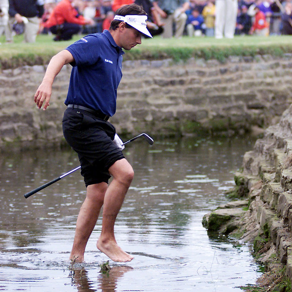 Jean Van de Velde needed only a double bogey on 18 to win the 1999 British Open at Carnoustie. His third shot on 18 landed in the Barry Burn, and for a moment he considered hitting out of the water. He took a drop and hit his fifth into a bunker. He got up and down for a triple bogey and a spot in a playoff, which he eventually lost to Paul Lawrie.