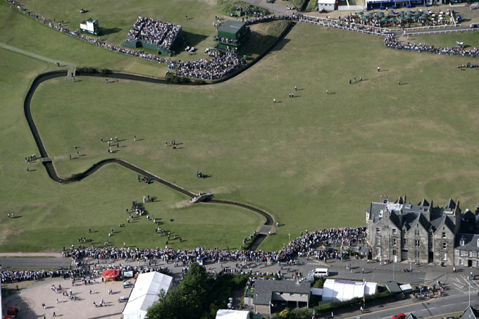 St. Andrews Old Course                           Scenic aerial view of Jack Nicklaus on Swilcan Burn bridge during Friday play at Old Course in 2005.