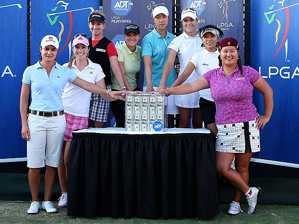 LPGA Tour ADT Championship: Round 3                                                      Saturday saw plenty of drama unfold as players scrambled to earn a spot in the final round of the LPGA Tour's ADT Championship. Eight players will compete Sunday for a $1 million first prize. Everyone will start with a score of 0, so it's become a sprint, winner-take-all event that promises to bring out the best in the LPGA's biggest stars.