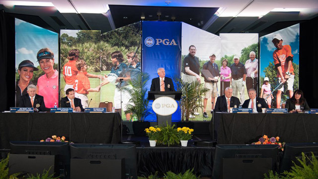 A New President Ted Bishop was elected as the 38th president of the PGA of America at its annual meeting on Nov. 10, 2012. Previously, he had been the director of golf and general manager of The Legends Golf Club in Franklin, Ind., since 1991.