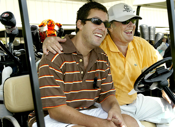 Comedian Adam Sandler jumped into Nicholson's golf cart at the American Film Institute Golf Classic, a celebrity golf tournament, at Riviera in 2003.
