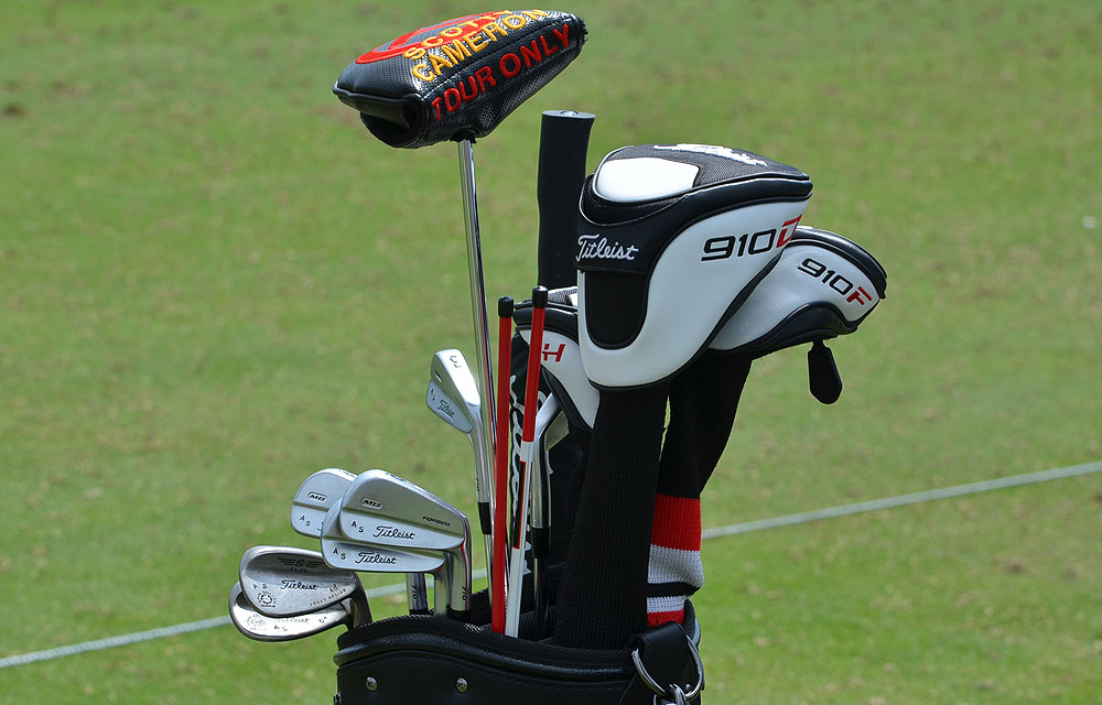 Adam Scott plays Titleist Forged 712 MB irons and  and a Titleist 910D3 driver, but the longest club in his bag is his Scotty Cameron Studio Select Kombi putter.