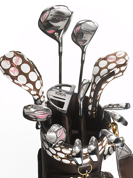 "$1,499, graphite                       adamsgolf.com                                              Michael Vrska, Director of Product Development:  ""This limited edition set featuring a4OS technology is a fantastic culmination of the best ideas, research, design and engineering effort at Adams Golf coupled with the premium look and feel of a fashion-forward Keri golf product.""                                               How it works: The integrated set has a passion for fashion. A beautiful custom-made chocolate brown Keri Golf cart bag (white polka dot trim and matching polka dot head covers) comes with detachable cosmetic zip pouch and mirror and gold-plated charm (numbered 1 to 1,000). The 13-club set includes an Insight Tech a40S driver, two Hybrid-fairway woods (3 and 5), three Idea Tech a40S hybrid irons (4, 5, and 6), three irons (7, 8, and 9), three wedges (Gap, PW and SW) and mallet putter. Proceeds benefit the Susan G. Komen Breast Cancer Foundation."