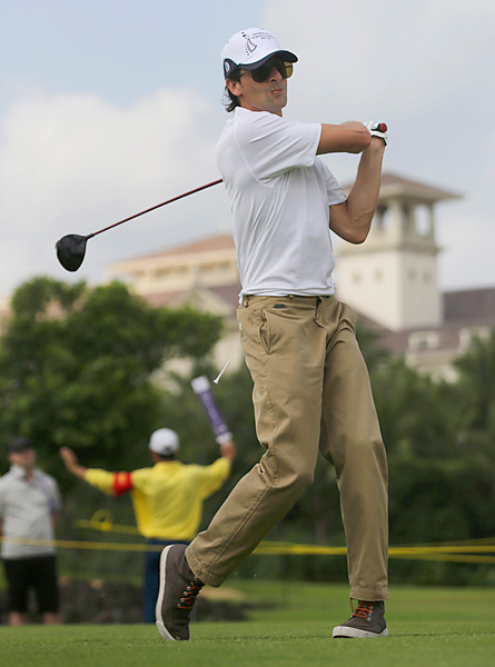 Here he is during the first round of the World Celebrity Pro-Am golf tournament in Haikou, in southern China's island province Hainan.