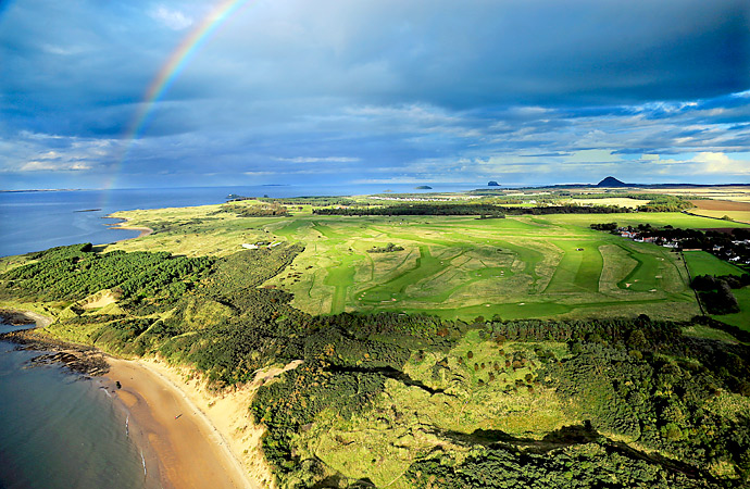 An aerial view of historic Muirfield Golf Links, which will host it's 16th British Open this year.