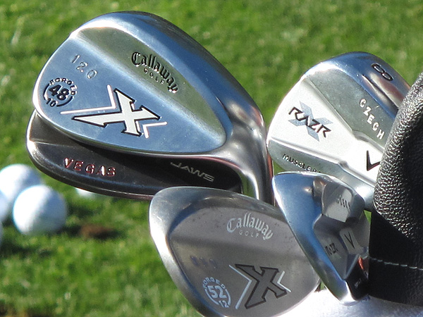 "Alex Cjeka uses Callaway X Series JAWS wedges and X Forged wedges that are stamped with everything from the distance the club carries (""120"") to ""Vegas."""