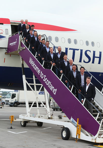 The American Ryder Cup team arrived on a British Airways jet at the Edinburgh Airport.