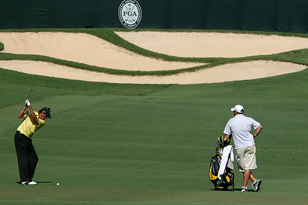On the par-5 5th, Stephen Ames knocked this approach shot close and made birdie. He is three under.