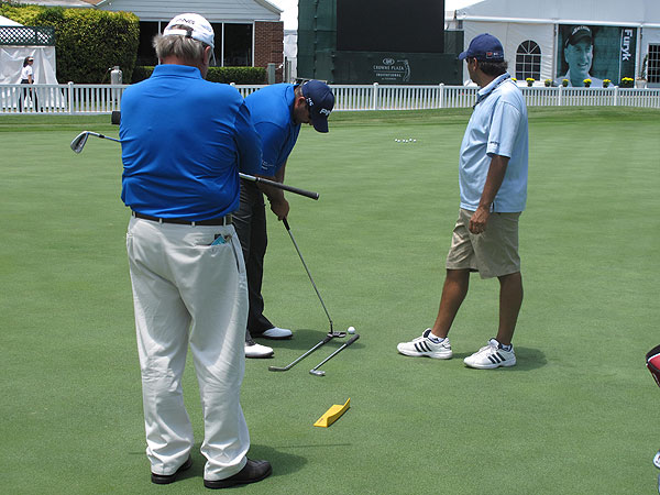 is one of the longest hitters off the tee, but he spends most of his time honing his putting on the practice green. Cabrera putts with a 37-inch Ping 1/2 Craz-E i-Series putter.