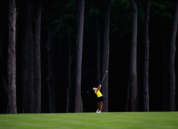 Anna Nordqvist of Sweden hits an approach to the fourth hole during round one of the International Crown.