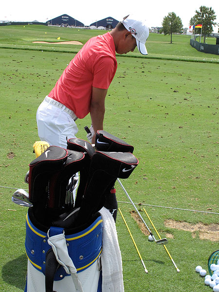was hard at work on his iron game Monday, but he also had a bag full of Nike drivers awaiting his attention.