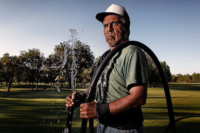 "Armando Rosendo, 54, is part of Club Campestre's 45-man grounds crew. The course does not have an underground sprinkler system, so workers use hoses to water the grass by hand. ""I live alone, I do not need much. Here I find peace,"" he said.                                   MORE: Read the story of Club Campestre, the lone course in Juarez, Mexico"